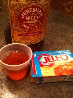 Jello Shot combinations! Sweet tea vodka and peach jello! (raspberry jello works well, too)