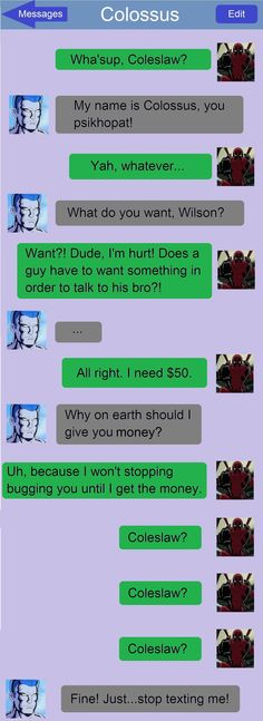 Funny text string between Colossus and Deadpool