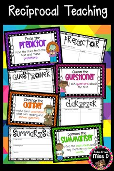 Reciprocal Teaching - Character Posters, Talking Prompts, Graphic Organisers for each role. © Tales From Miss D