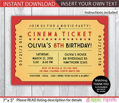 Lovely Movie Ticket Invitation Template Free
