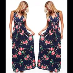 NWT- Floral Maxi Dress  PLEASE DO NOT PURCHASE THIS LISTING- Ask and I will make you a personalized listing  Model pictured is wearing a size SMALL! Navy Blue, V Neck drape front style that ties at the waist. Very comfortable and has great stretch! Available in S-M-L Dresses Maxi