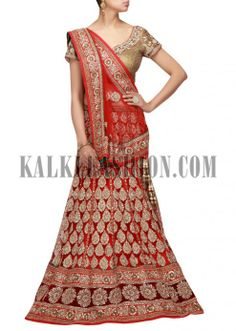 Red lehenga embroidered in sequence and zardosi