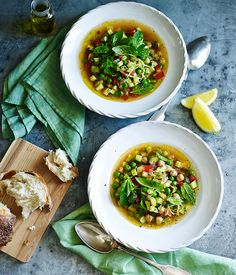 Green minestrone with chickpeas and lemon :: Gourmet Traveller Magazine Mobile
