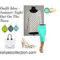 """""""Summer Night Outfit Idea - Mint Pencil Skirt and Polka Dot Blouse"""" by mstravesura on Polyvore"""