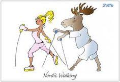 – Скандинавская ходьба Грациозна и стройна! Чтоб не стать таким оленем, Запишись в ряды скорее!