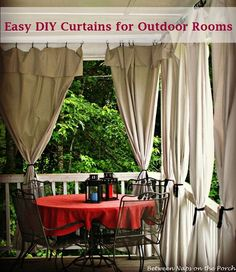DIY Curtains made from drop cloths that add privacy and sun control to outdoor spaces....