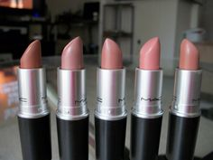 MAC Nude Lipsticks (L to R): Cherish, Myth, Blankety, Hue and Honeylove. Other nude shades I love are: Fleshpot, Creme d'Nude, Shy Girl, Velvet Teddy and Blankety.