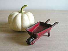 Tin Toy Wheelbarrow Vintage Red Metal Miniature