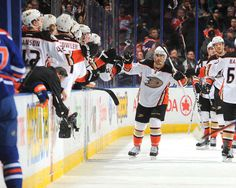 Andrew Cogliano #7 of the Anaheim Ducks celebrates with team mates after a goal during the game against the Edmonton Oilers