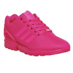 Adidas Zx Flux ($110) ❤ liked on Polyvore featuring shoes, sneakers, shock pink mono, trainers, unisex sports, retro shoes, woven shoes, sports shoes, stripe shoes and adidas