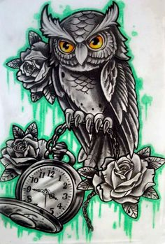 Owl Clock Drawing Owl with clock n rose tattoo