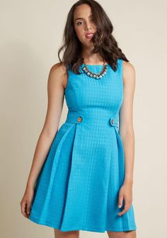 ModCloth - ModCloth So Sixties A-Line Dress in Turquoise - AdoreWe.com