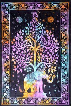 Elephant Tree - Tie-Dye - Tapestry, 53 x 80 in., SKU: 007775