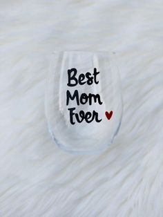 Best Mom Ever hand painted stemless wine glass tumbler /Gifts for Mom/Best Mother Ever glass/Best Mama glass/Best Momma glass/Mothers day Best Mother, Best Mom, Stemless Wine Glasses, Glass Design, Cricket, Gifts For Mom, Tumbler, Mothers, Goals