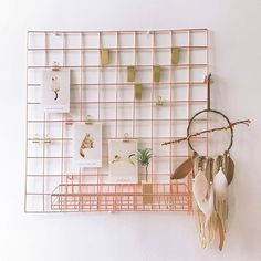 Rustic Home Offices, Home Office Decor, Grille Photo, Wire Board, Metal Grid, Rose Gold Frame, Hand Molding, Wall Racks, Wall Organization