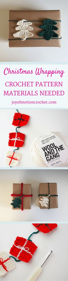 Christmas Wrapping crochet pattern. Christmas crochet. Christmas crochet idea. Crochet your Christmas wrapping. Christmas Threes. Christmas Star. Christmas garland. Christmas packages. Pin it now & keep it forever. Click to learn more. via @http://pinterest.com/joyofmotion/