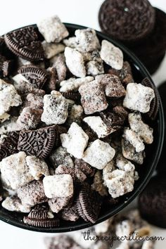 Cookies N' Cream Muddy Buddies Recipe Box, Oreo Recipe, Snack Mixes, Chocolate Chex Mix, White Chocolate, Craving Chocolate, Chocolate Chips, Chocolate Cake, Oreo Cereal