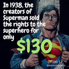 The creators of Superman, Siegel and Shuster, sold all of the rights to Superman to Detective Comics, who later became DC Comics.  The Superman character has brought in billions of dollars..... •••••••••••••••••••••••••••••••••••••••••••••••••• #fact #facts #economy #economics #finance #wsj #wallstreet #factstho #factsonly #knowledge #learning #education #facts💯 #info #information #facts💯💯💯 #infographic #money #business #invest #investing #superman #dccomics #comics #comic #superhero…