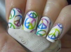 Nail Peace Paint The First Coat Multi Colors Then Sign Cut Out Stickers Let Dry Put On And When All L Off