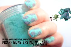 Monsters, Inc. with flocking powder! So creative! I think you'd have to do the purple spots first (carefully) and then fill in the blue.
