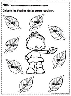 Le cahier de Pénélope French Teaching Resources, Teaching French, Color Activities, Autumn Activities, How To Speak French, Learn French, French Crafts, French Worksheets, French Colors