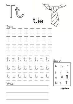 Alphabet Printable T for Tie FREE! • KraftiMama Grade R Worksheets, Napoleon Hill Quotes, Celebration Quotes, Afrikaans, Phonics, Success Quotes, Homeschool, Printable, Tie