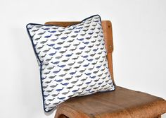 Whale Cushion Cover with blue piping Decorative by kelseyemblow