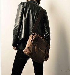 Men's Handmade Vintage Crazy Horse Leather Canvas Single Shoulder Bags / Messager Bags / Briefcase / 14' MacBook Laptop Bags (m6807-2)