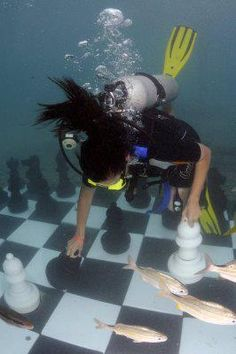Scuba Diving Chess!    www.chessplayercentral.com