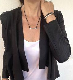 Womens silver bar necklaceengraved bar necklaceadjustable