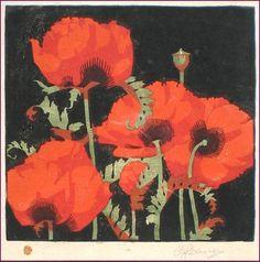 Oriental Poppies ~ Linocut, 7 1/2 x 7 1/4 inch ~ A. J. Casson