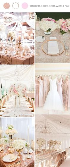 vintage rose gold, white and pink wedding color ideas
