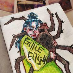 Billie Eilish, Character Illustration, Illustration Art, Funny Instagram Memes, Fan Art, Cute Drawings, Cartoon Characters, Cute Babies, Spider