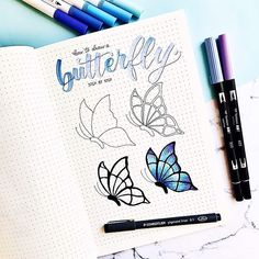 This is how I draw a butterfly step by step🦋 Hope it can be useful :) . March Bullet Journal, Bullet Journal Notebook, Bullet Journal Themes, Bullet Journal Inspiration, Journal Ideas, Doodle Art, Doodle Drawings, Easy Drawings, How To Draw Doodle
