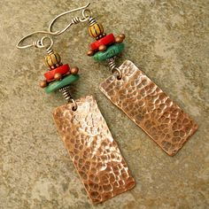 Ethnic Looking Hammered Copper Earrings with by marynewton on Etsy, $24.00