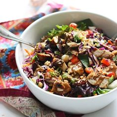 Chopped Spicy Chicken and Veggie Salad with Peanut Dressing @FoodBlogs