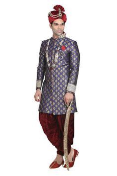 Add your sensitivity and vogue to all festive occasions in this Blue Color Jacquard Fabric Sherwani. All patterns are intricately embellished with Zardozi,Thread,Stone work. Sherwani For Men Wedding, Sherwani Groom, Wedding Men, Mens Ethnic Wear, India Shopping, Men Online, Indian Fashion, Menswear, Vogue