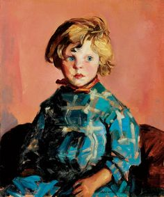 The Blue Plaid Dress (Annie), Robert Henri. American Ashcan School Painter (1865 - 1929)