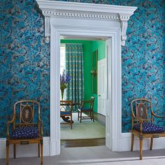 With a definite oriental feel, Matthew Williamson's Fanfare wallpaper for Osborne and Little's Belvoir collection, is a wonderfully exotic and arresting large scale repeat pattern. Featuring a collection of overlapping hand-drawn fans depicting shrubbery Luxury Wallpaper, Designer Wallpaper, Unusual Wallpaper, Feature Wallpaper, Matthew Williamson, Osborne And Little Wallpaper, Modern Georgian, Japanese Blossom, Teal And Gold