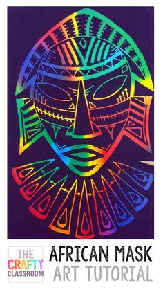 African Art Projects for Kids. Free Step by Step photo tutorials. Perfect for Ho… African Art Projects for Kids. Free Step by Step photo tutorials. Perfect for Homeschool Art, and Unit Studies. African Art For Kids, African Art Projects, African Crafts, Kratz Kunst, 6th Grade Art, Scratch Art, Africa Art, Africa News, Artists For Kids