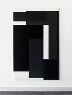 Arjan Janssen, oil on canvas. #art #artist #painting #black #white #square #shape #straight #lines #minimalist #grey #piece #canvas #rectangle