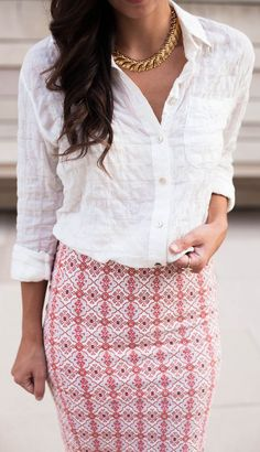 An updated spin on the classic white button down - texture! We are loving how this contrasts with our favorite summer separates!