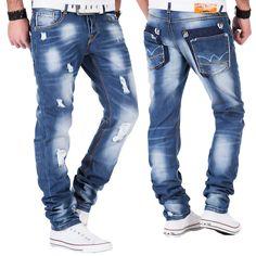 Japan Style Herren Jeans Hose Destroyed Verwaschen Club Denim Chino Vintage Blau