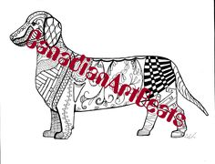Downloadable Dachshund Zentangle Inspired Coloring Page By CanadianArtBeats On Etsy