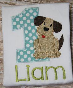 Boys First Birthday Romper Puppy Birthday by SewBerryCuteBoutique