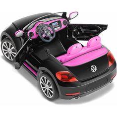 Kid Trax VW Beetle Convertible 12-Volt Battery-Powered Ride-On, Black - Walmart.com