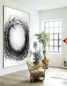 Large Abstract Art, Hand Painted Oil Painting Minimalist Art, Abstract Painting On Canvas, Modern Art Circle. Black White.
