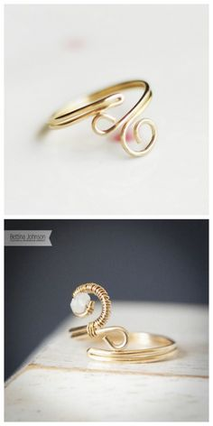 Top Photo: DIY by Bettina's Blog. Bottom Photo: If you don't want to DIY, Bettina Johnson sells this 14k gold wire wrapped rings with a moonstone (and other stones available) for $27 here. I love DIY wire wrapped jewelry and tutorials : truebluemeandyou.tumblr.com/tagged/wire
