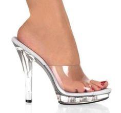 Blusa Feminina Sexy Formatura Clara Transparente Salto Alto Festa Mulas Chinelos Sandálias Sapatos