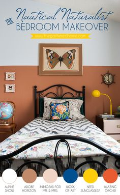The Nautical Naturalist Bedroom Makeover | Whimsy, nature, and a Wes Anderson-inspired color palette combine in this delightfully fun kid-friendly guest room makeover.